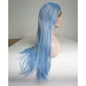 Light Blue Lace Front Wig 24 Inches Long Straight